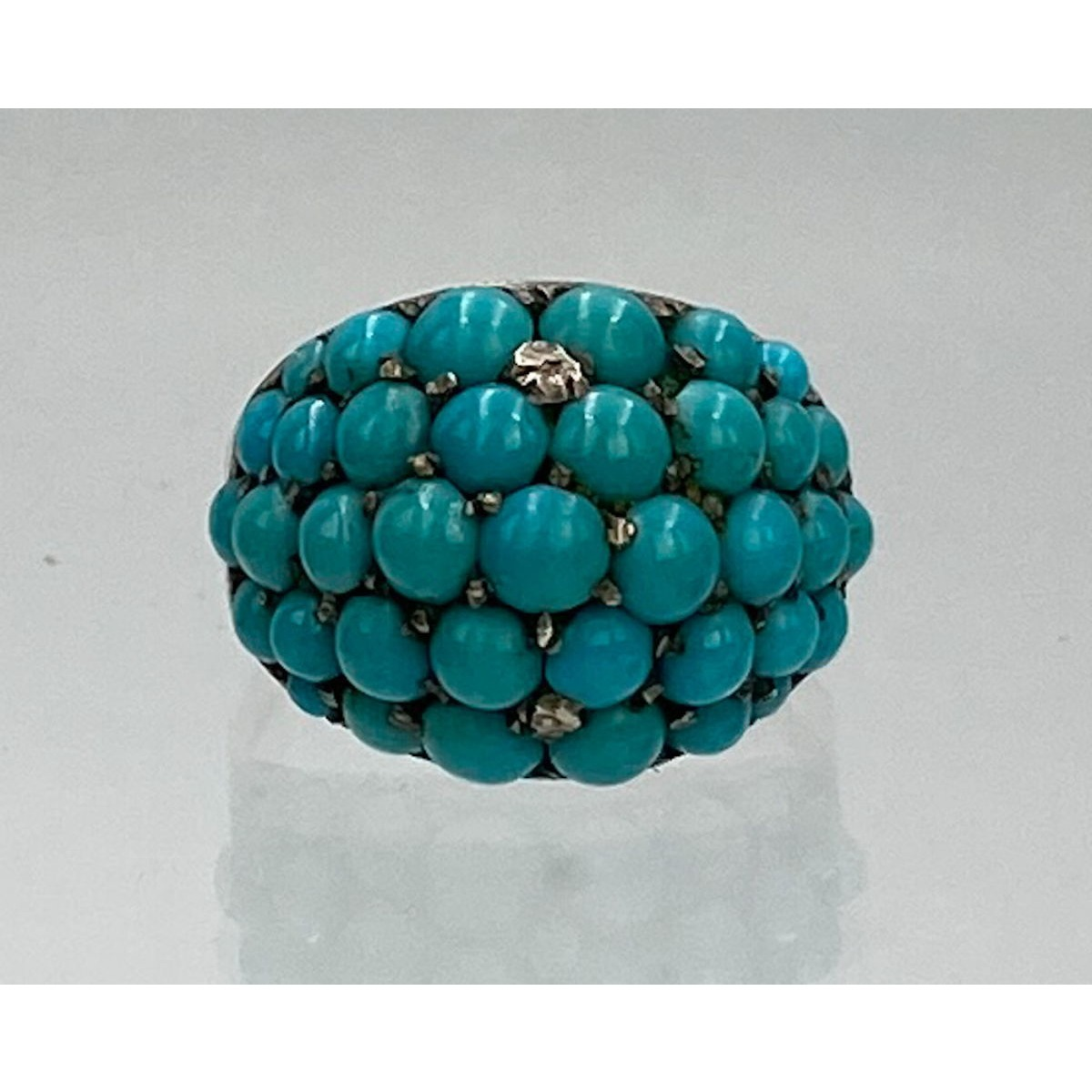 Brilliant Persian Turquoise and Diamond Encrusted Gold Antique English Ring