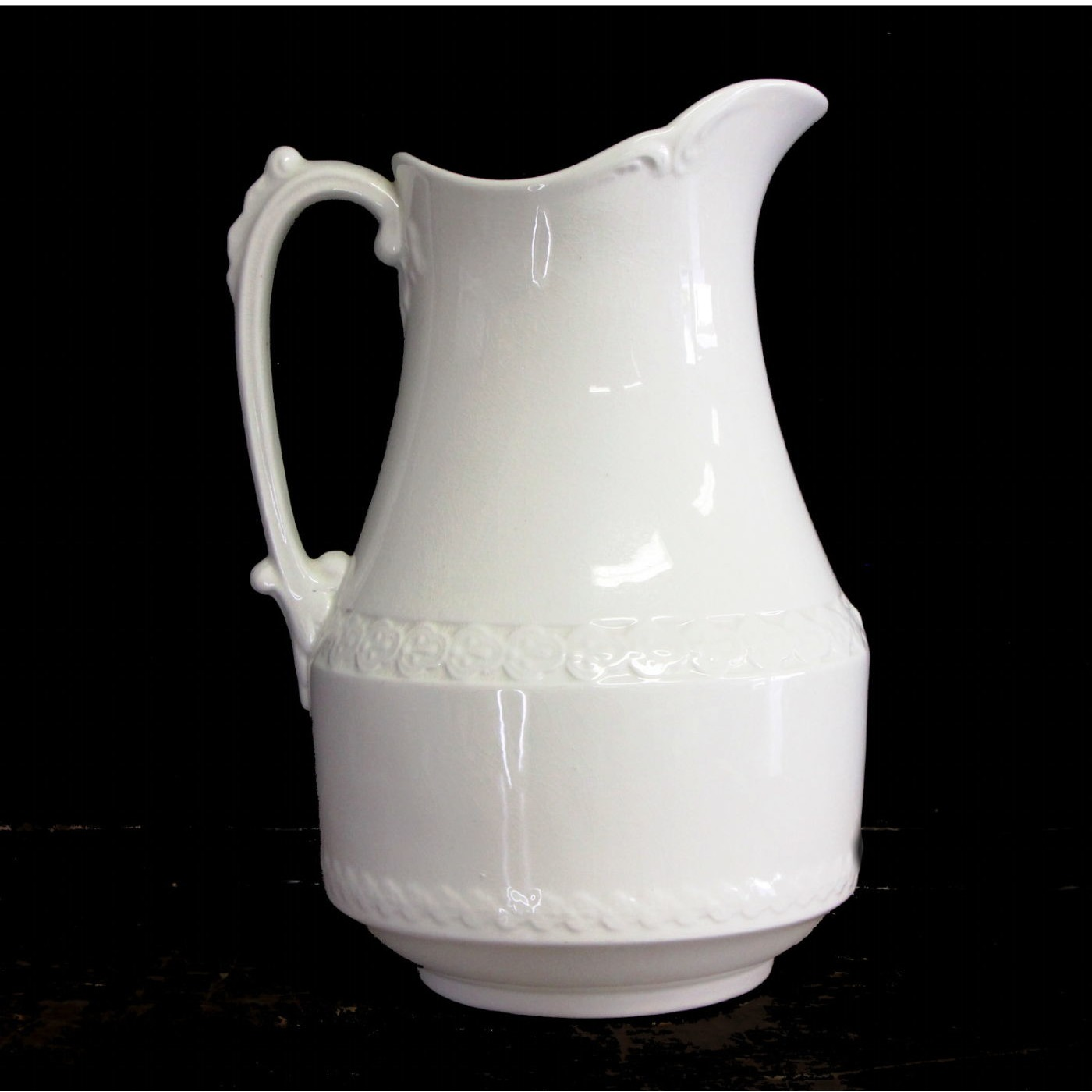 Unusual Tall Ironstone Pitcher Central Floral Band