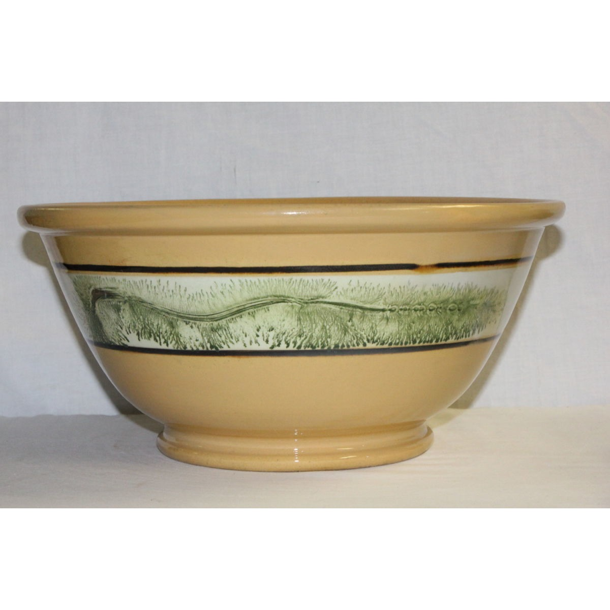 Fabulous Huge Green Seaweed-Decorated Yellowware Bowl