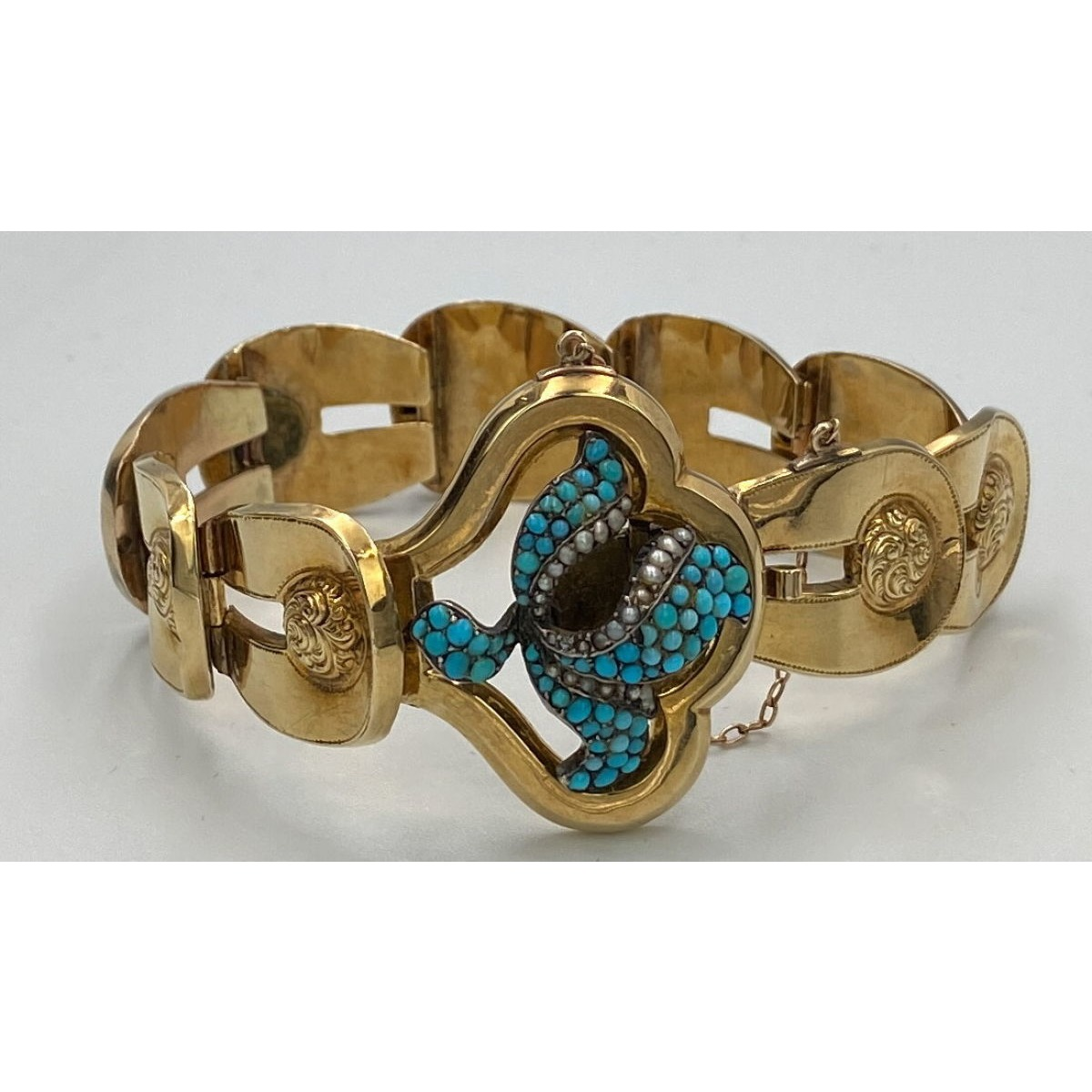 Statement 15kt Gold Bold Link Antique English Bracelet w. Turquoise and Seed Pearls