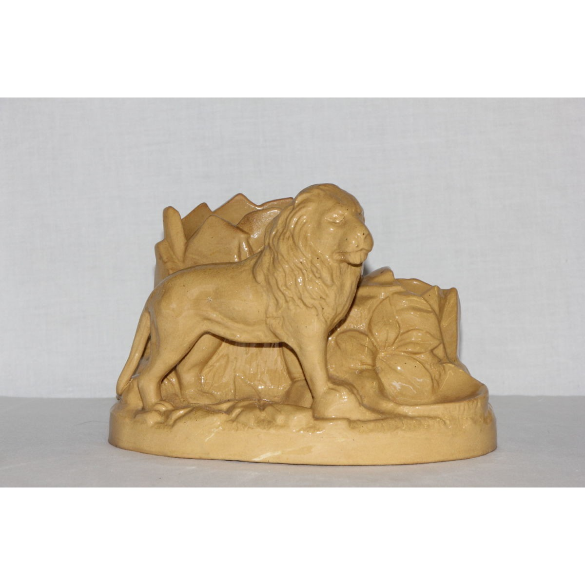 Unusual Lion Yellowware Smoking Stand or Match holder