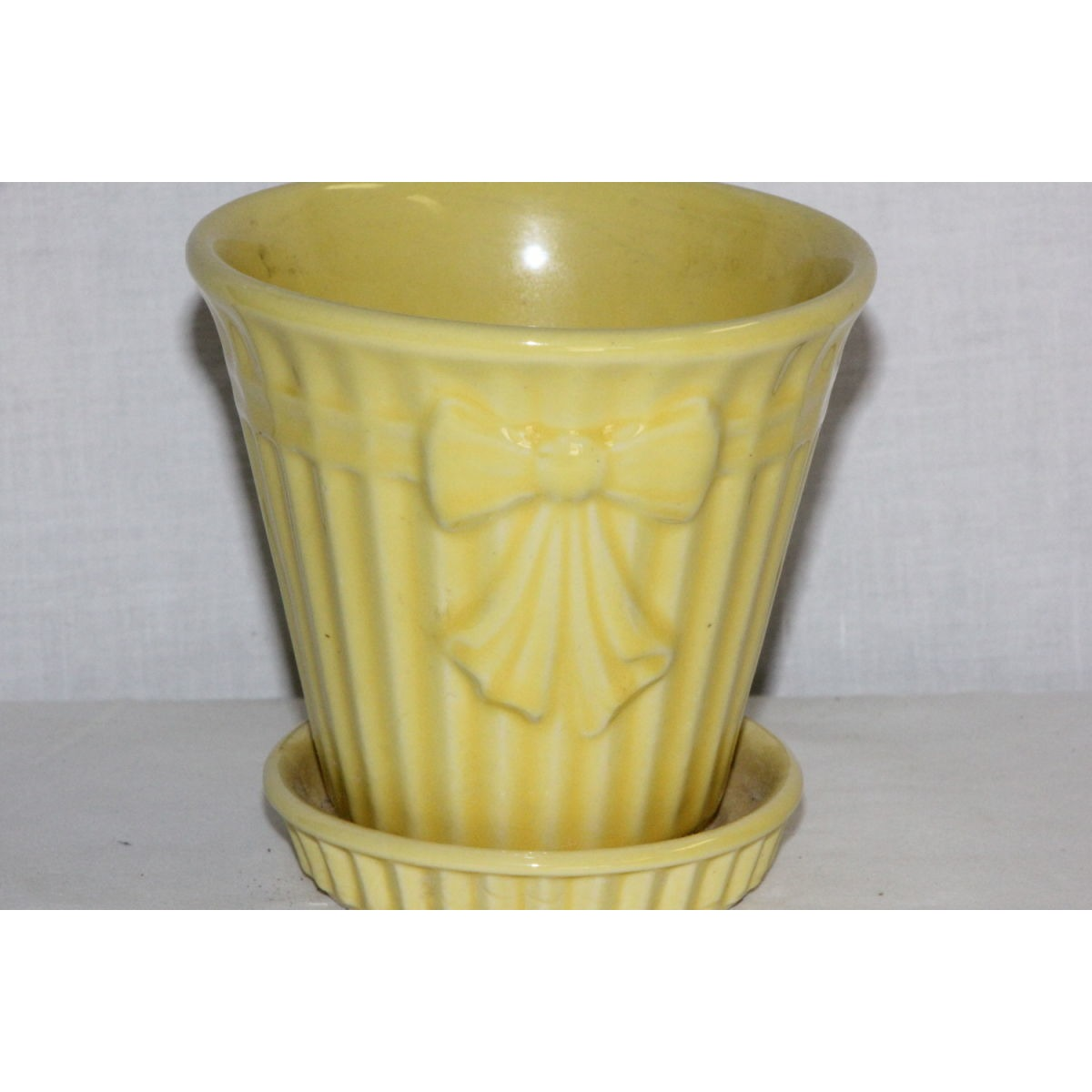 Summery Yellow Bow and Narrow Fluted Flower Pot Planter