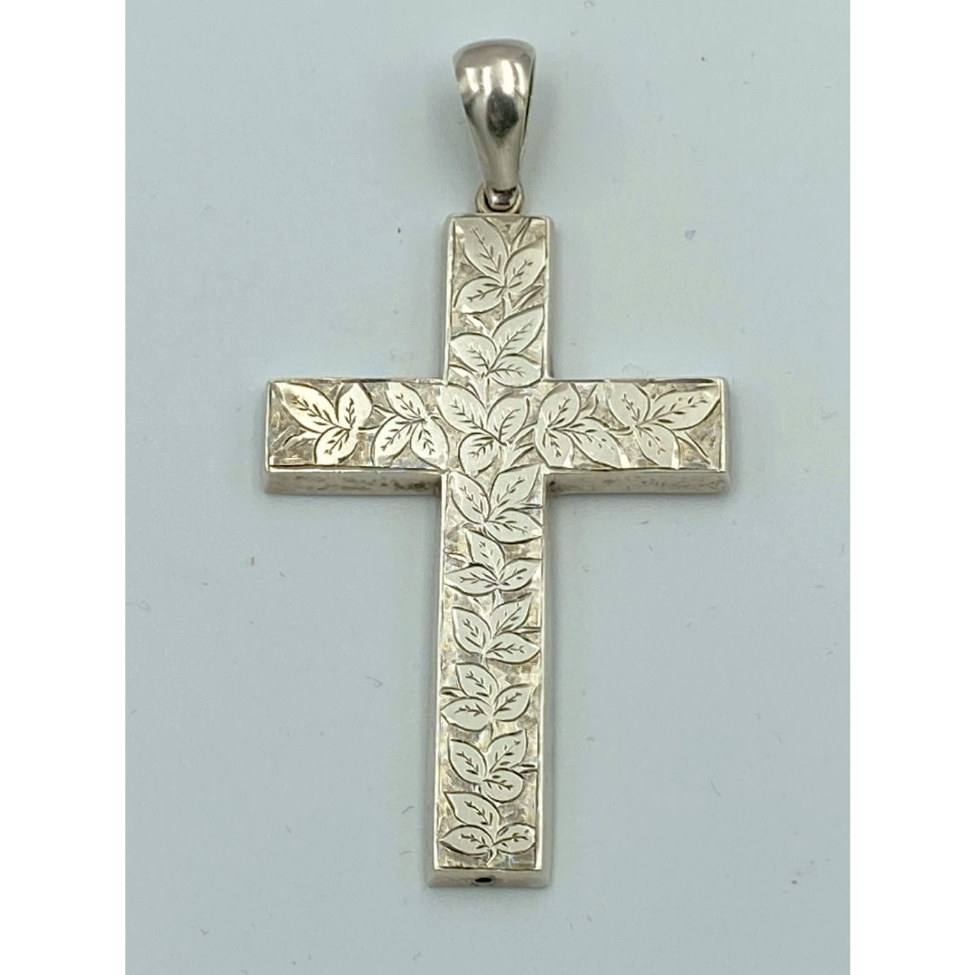 Early Heavily Adorned Ivy Silver Cross Pendant