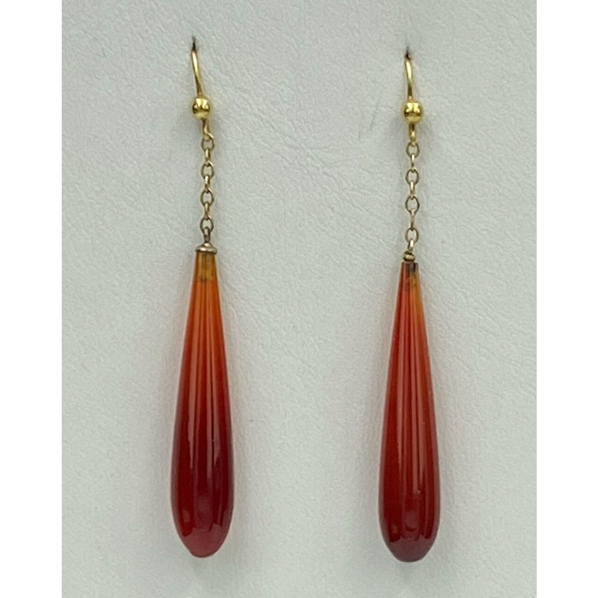 Carnelian Pendant Earrings, 15kt Gold Wires, Antique English