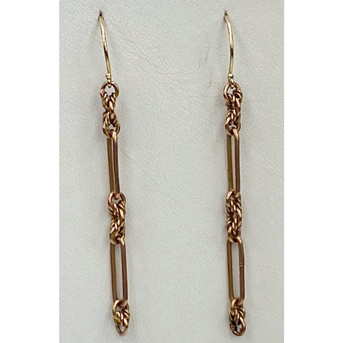 Amazing LONG Trombone Intricate Link Antique English Gold Earrings