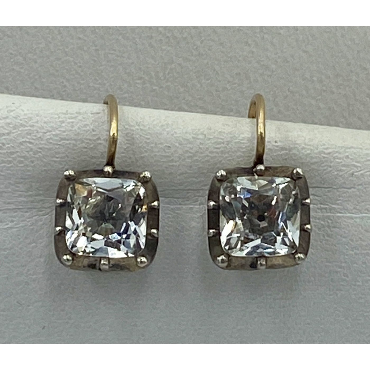 Early Unusual Square Prong Set Rock Crystal Earrings 15kt Gold Wires
