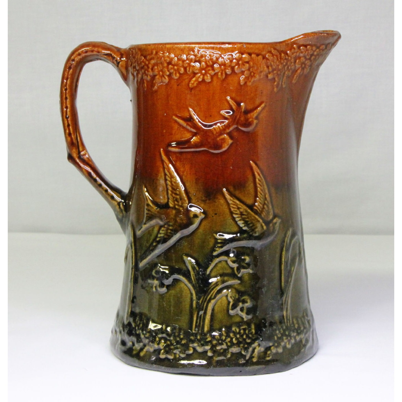 Gorgeous Brown and Green-Glazed Lovebird Pitcher