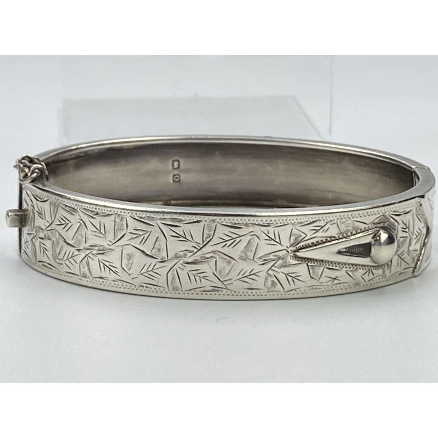 Narrow Shirt Cuff English Silver Antique Bangle