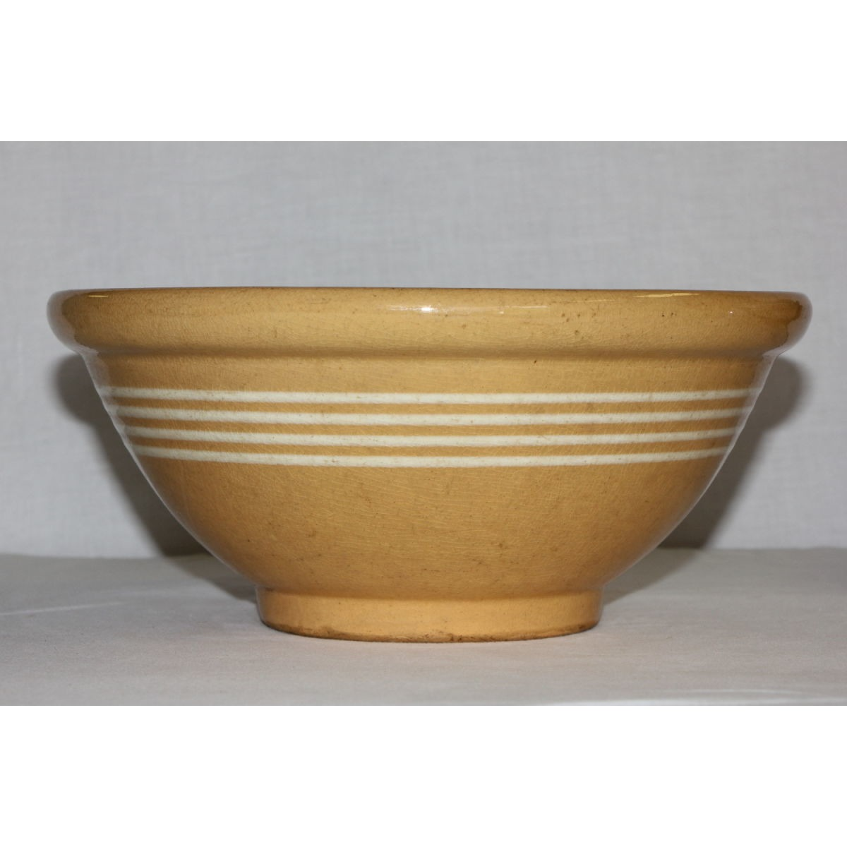 Lovely 4 White Banded Yellowware Bowl