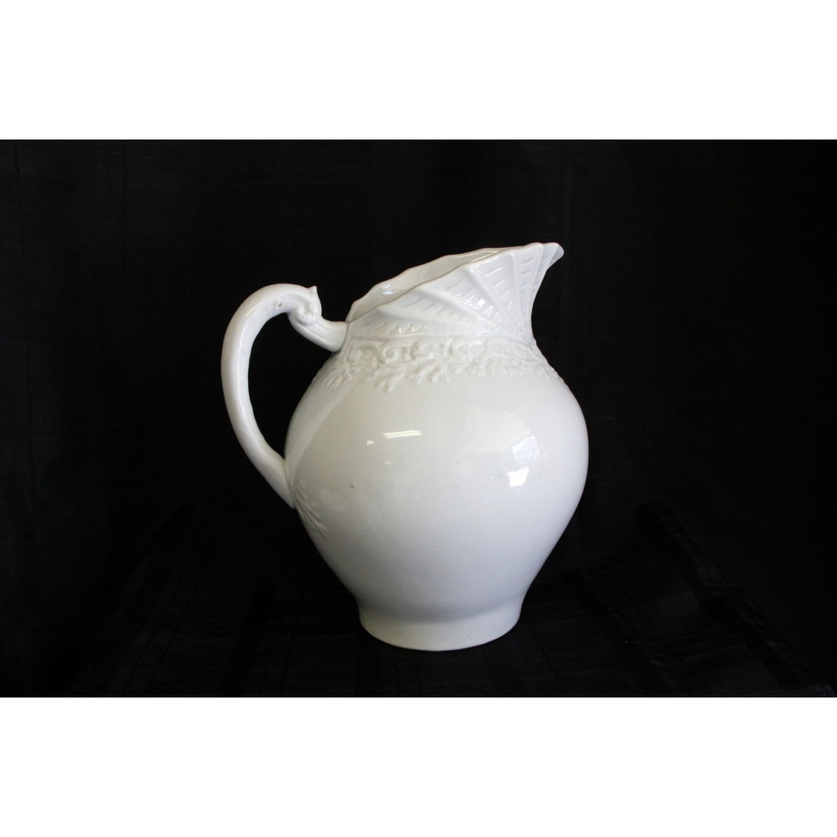 Gorgeous Ironstone Pitcher with Ornate Shell Embossing