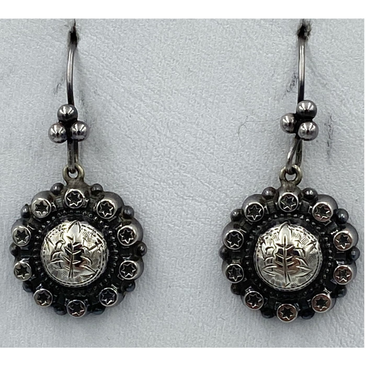 Star Border Victorian English Sterling Silver Earrings
