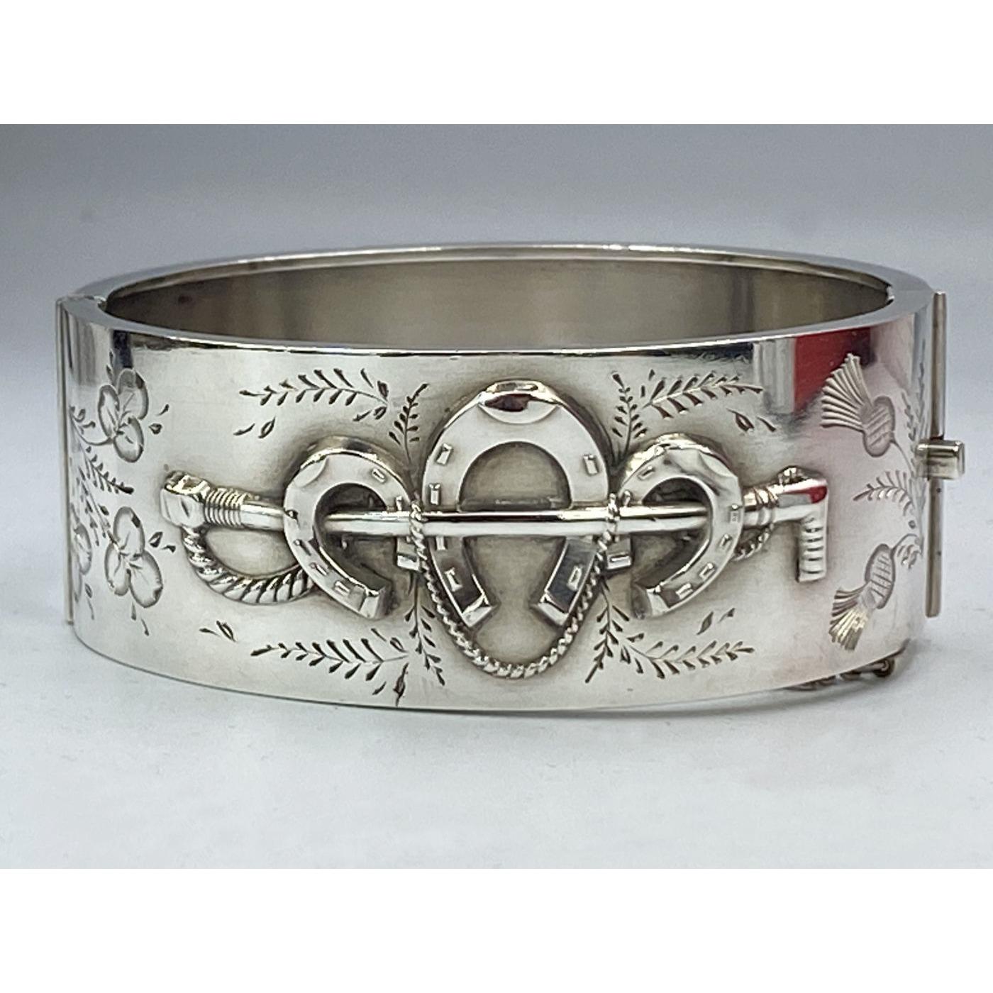 Awesome Triple Horseshoe Antique English Silver Bangle