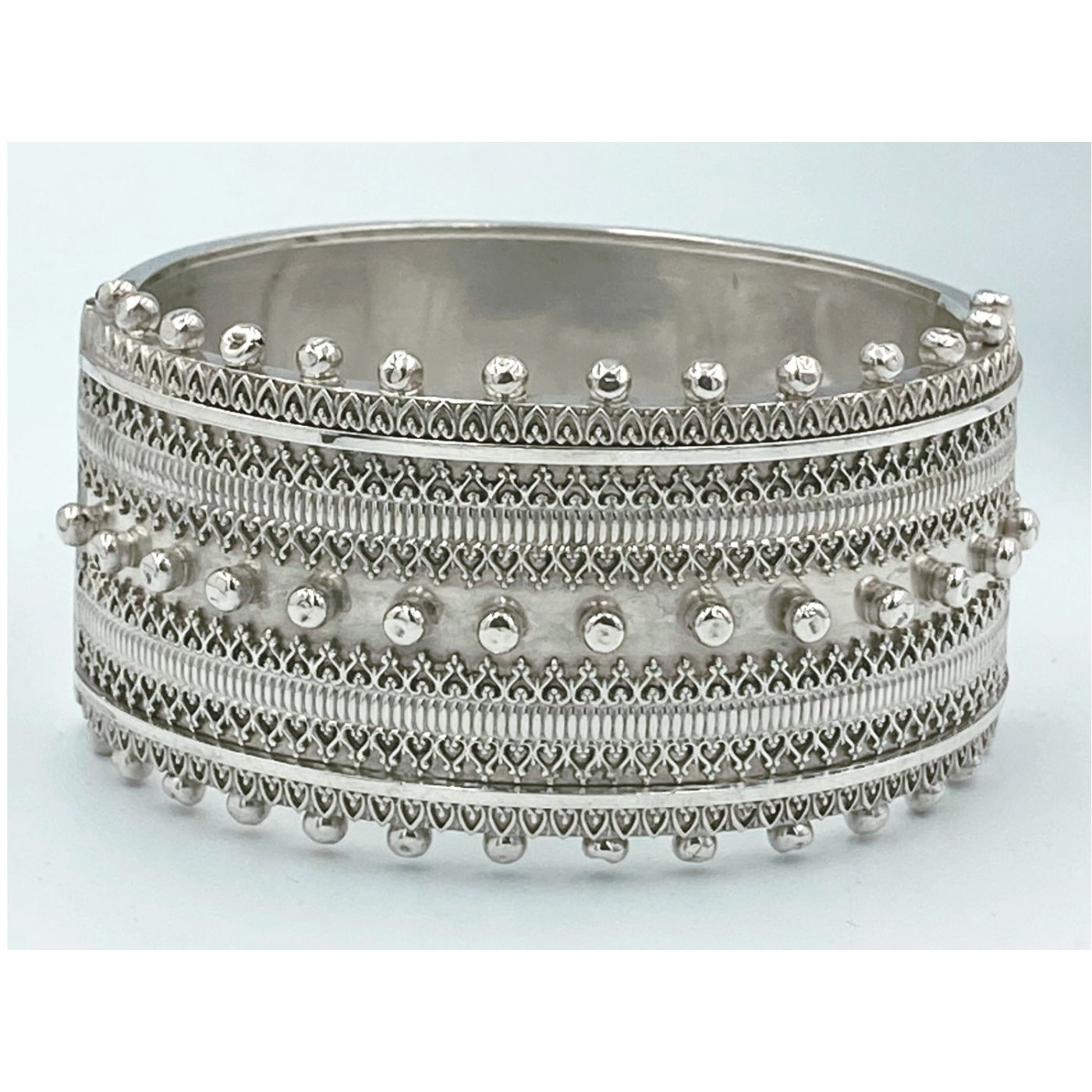 Larger Extraordinary Beaded Edge Exquisite Victorian Silver Bangle
