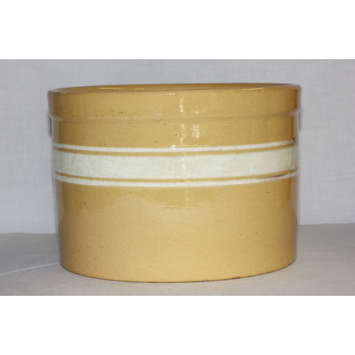 White Banded Large Dandyline Yellowware Canister