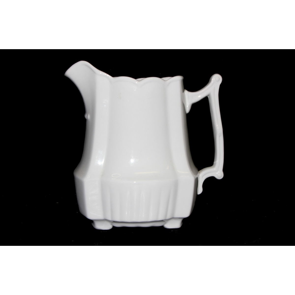 Ribbed Base Squarish Ironstone Milk Pitcher