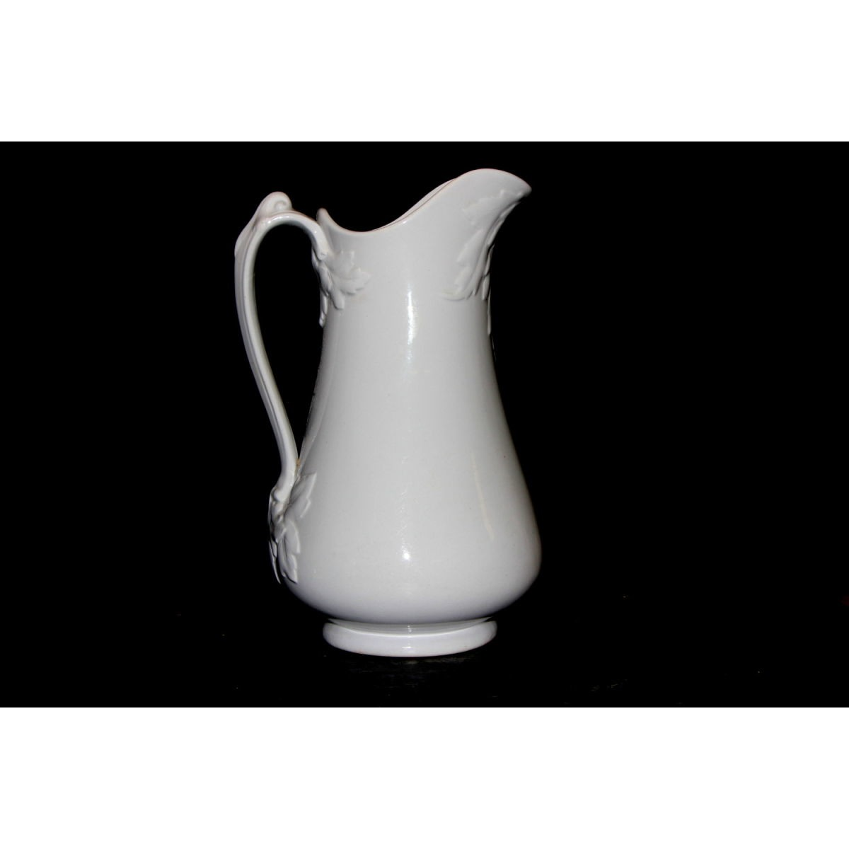 Unusual Tall Slender Skinny Ironstone Ewer with Exaggerated Leaf