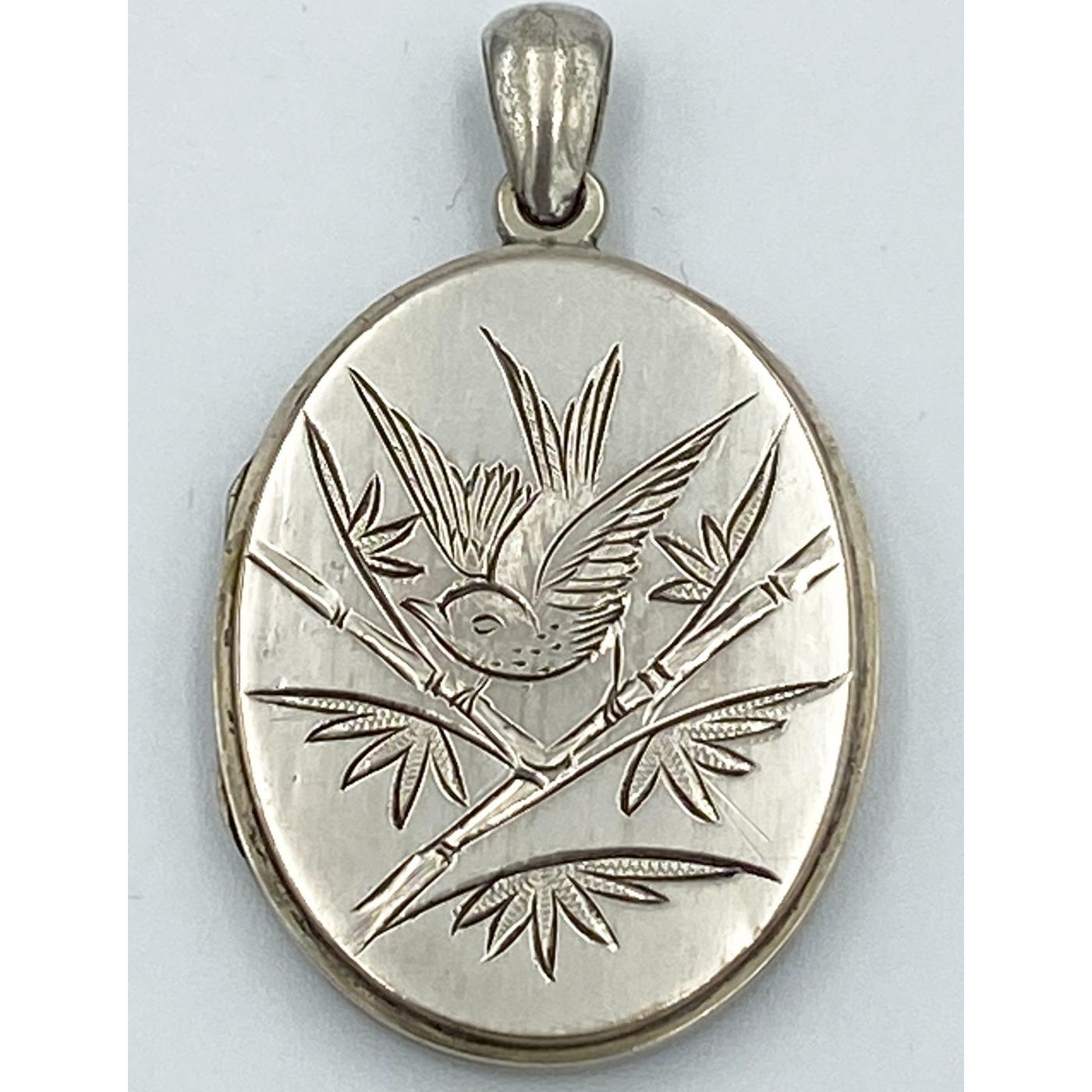Large Engraved Swallow Antique English Silver Locket
