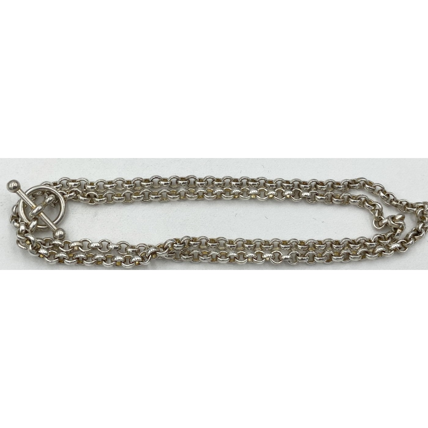 """Sterling Silver Rolo Link 20"""" Chain Toggle Clasp"""
