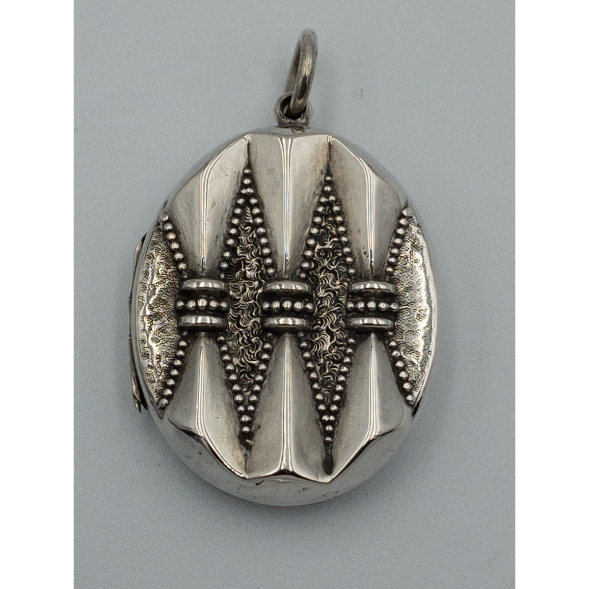 Dimensional Pleated Beaded Antique English Silver Locket