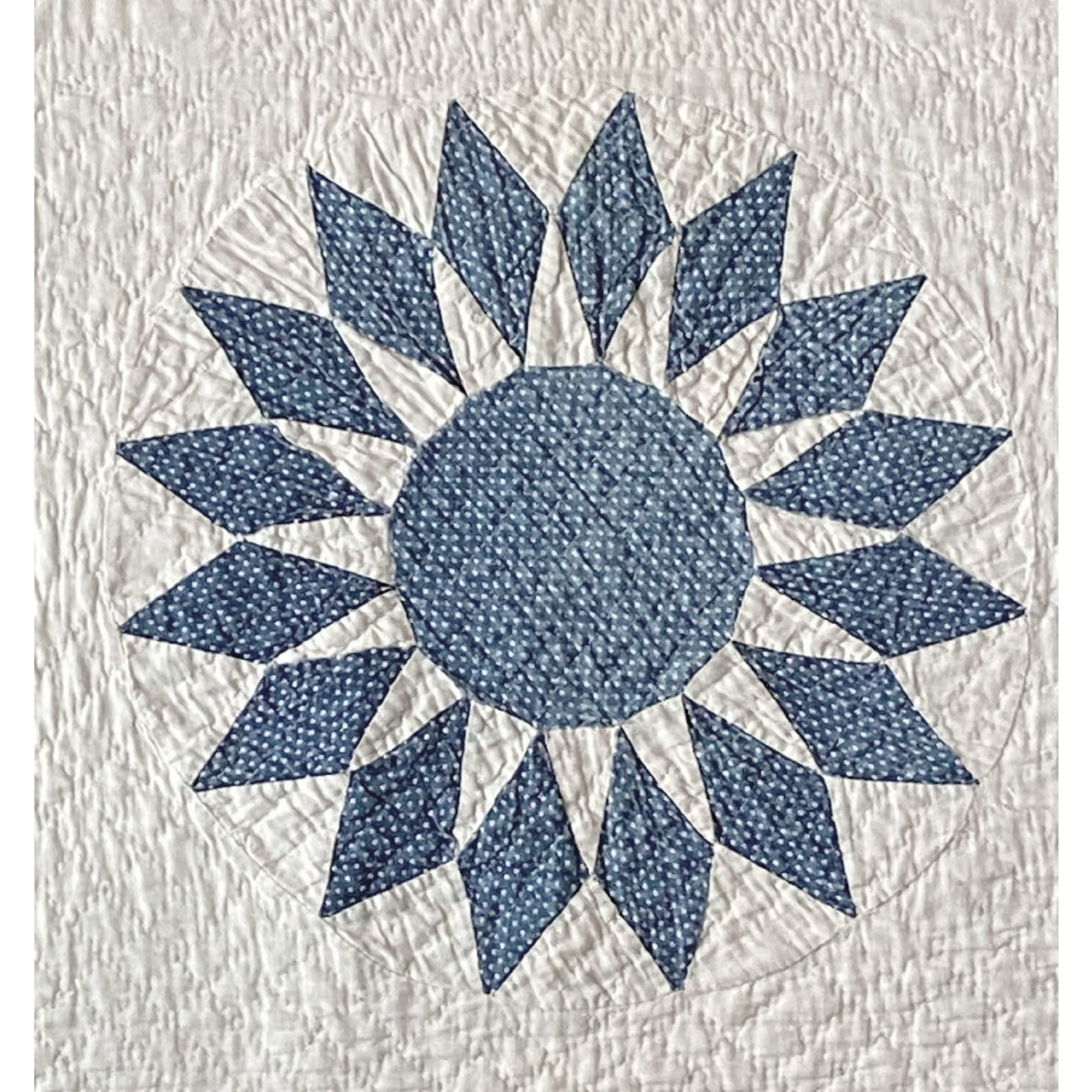Mesmerizing Early Blue and White Mariner's Compass Sunflower Quilt