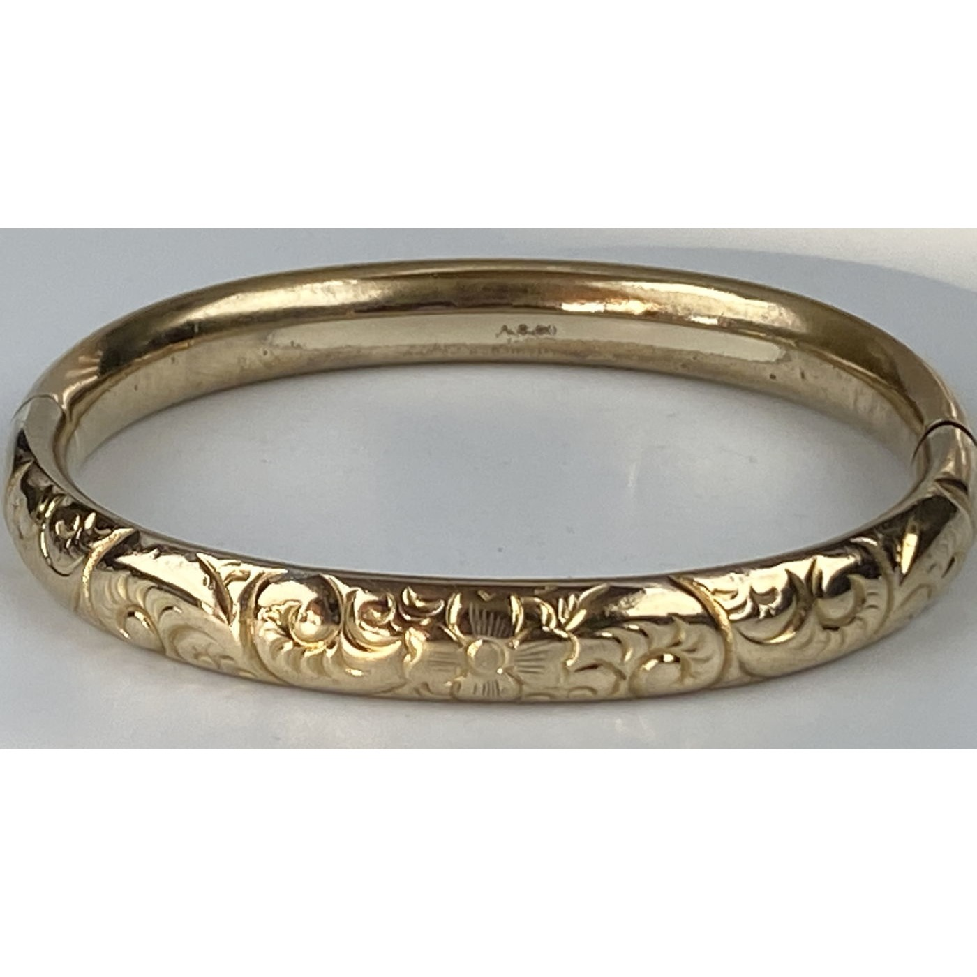 Smaller Than Average, Deeply Engraved Swirls Engagement Bangle