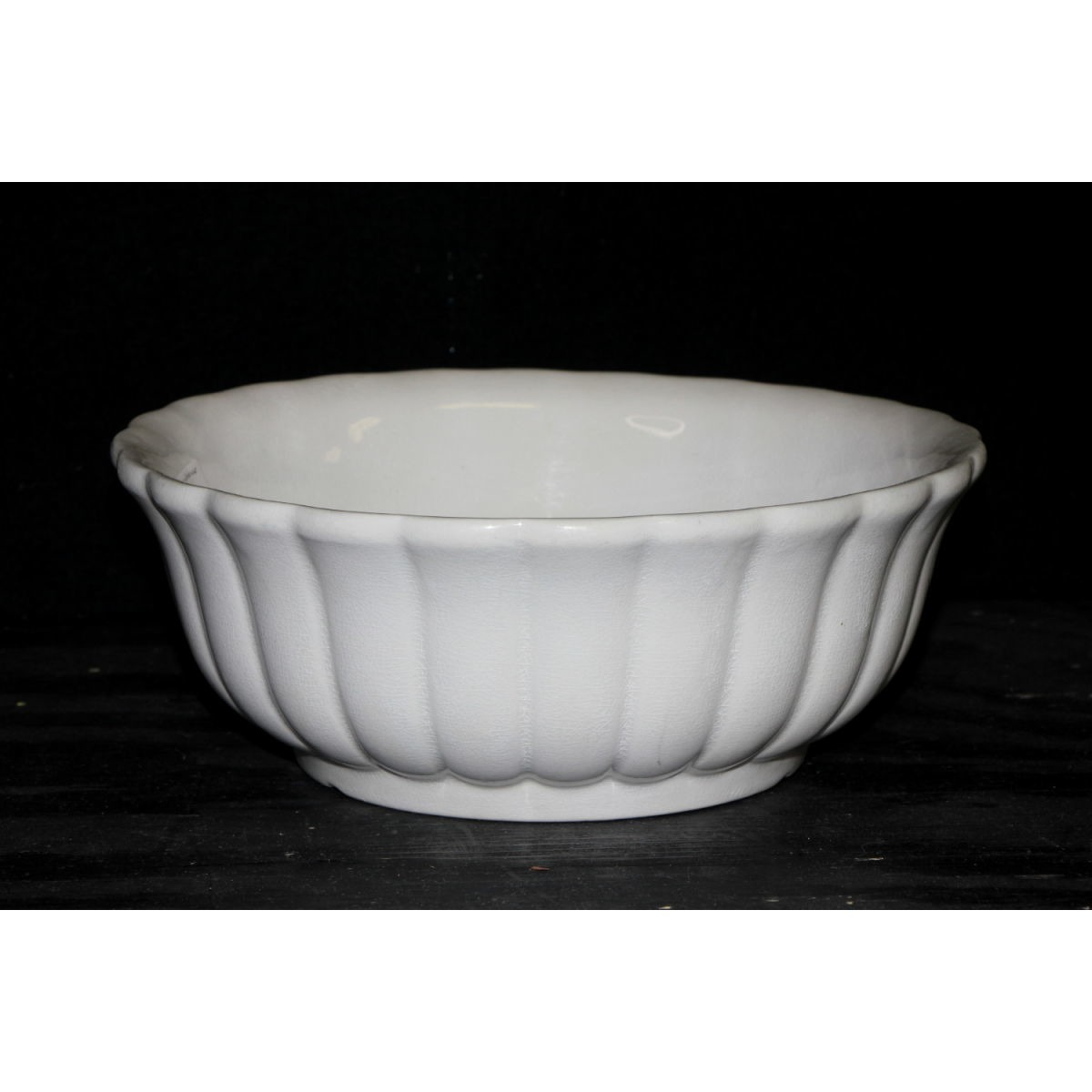 "Medium Fluted Ironstone Serving Bowl - 9.5"" diameter"