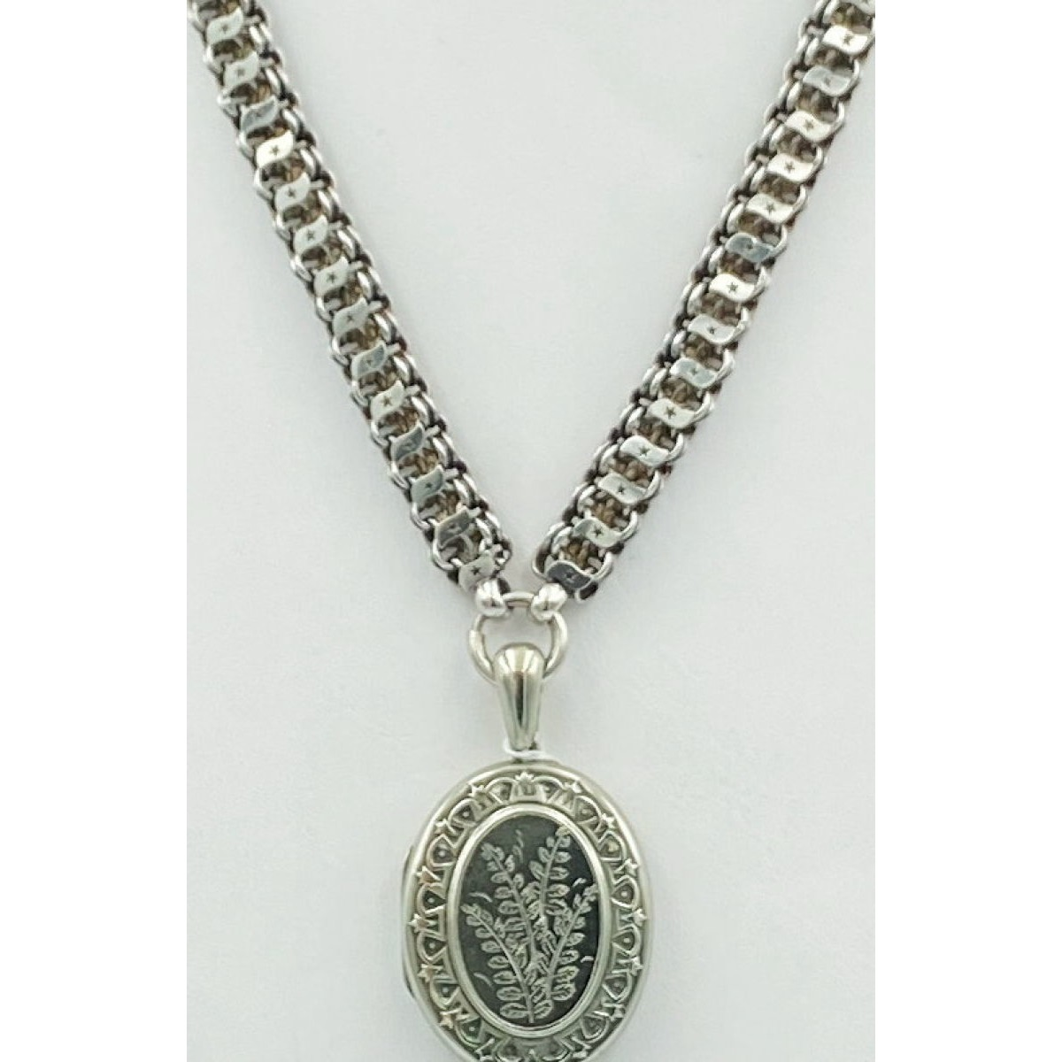 Wonderful Polished Star Cutwork Applied Swirl Antique English Victorian Silver Bookchain - Chain Only