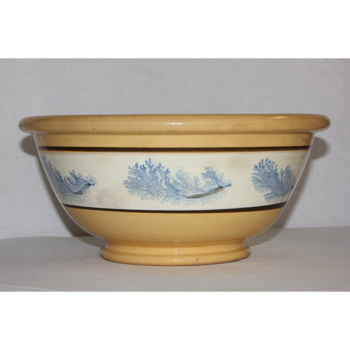 "Gorgeous 12.5"" Blue Seaweed-Decorated Yellowware Bowl"