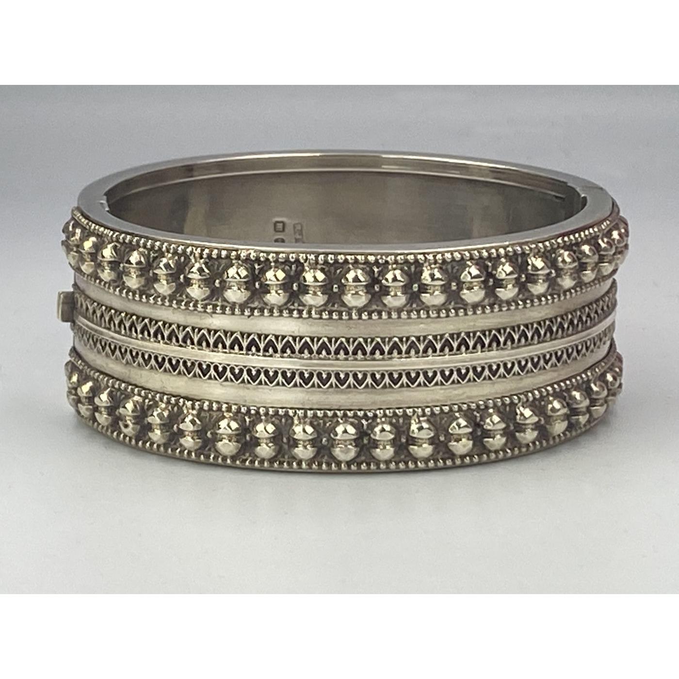 Studded, Beaded, Gallery Work, Geometric English Silver Bangle