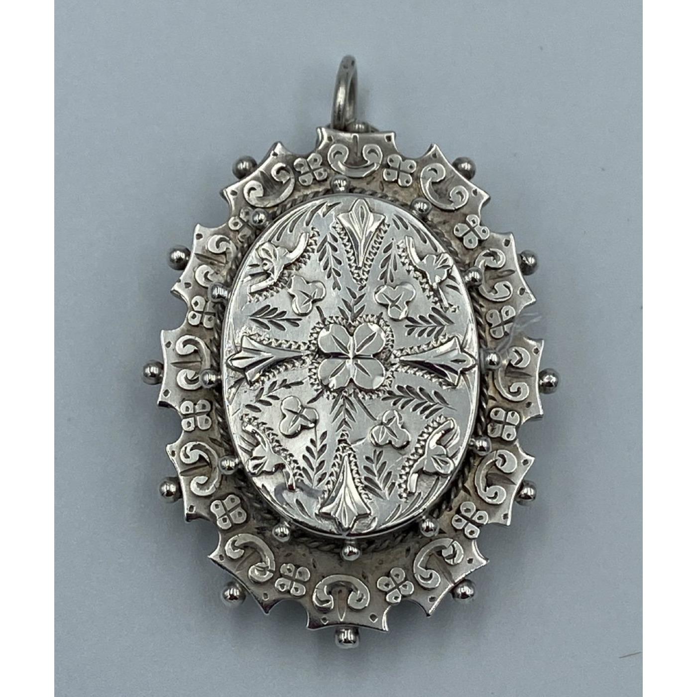 Victorian English Silver Locket Pendant