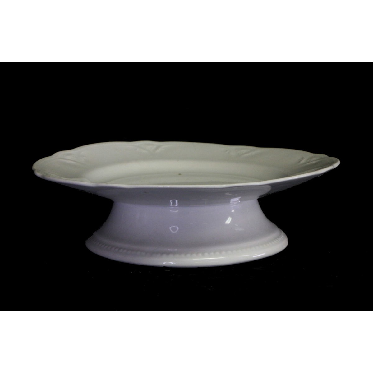 Simple Low Lightly Embossed Tracery Ironstone Cake Stand