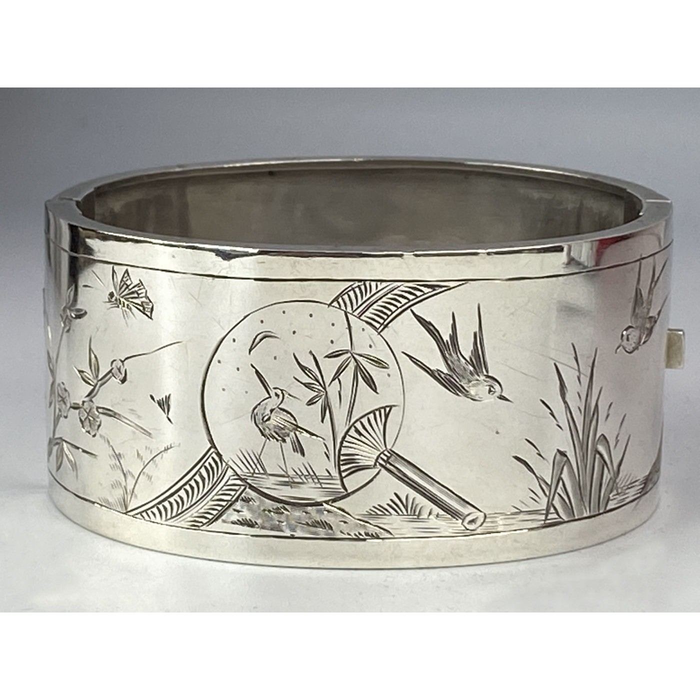 Swallows and AWESOME Spy Glass Engraved Antique English Silver Bangle