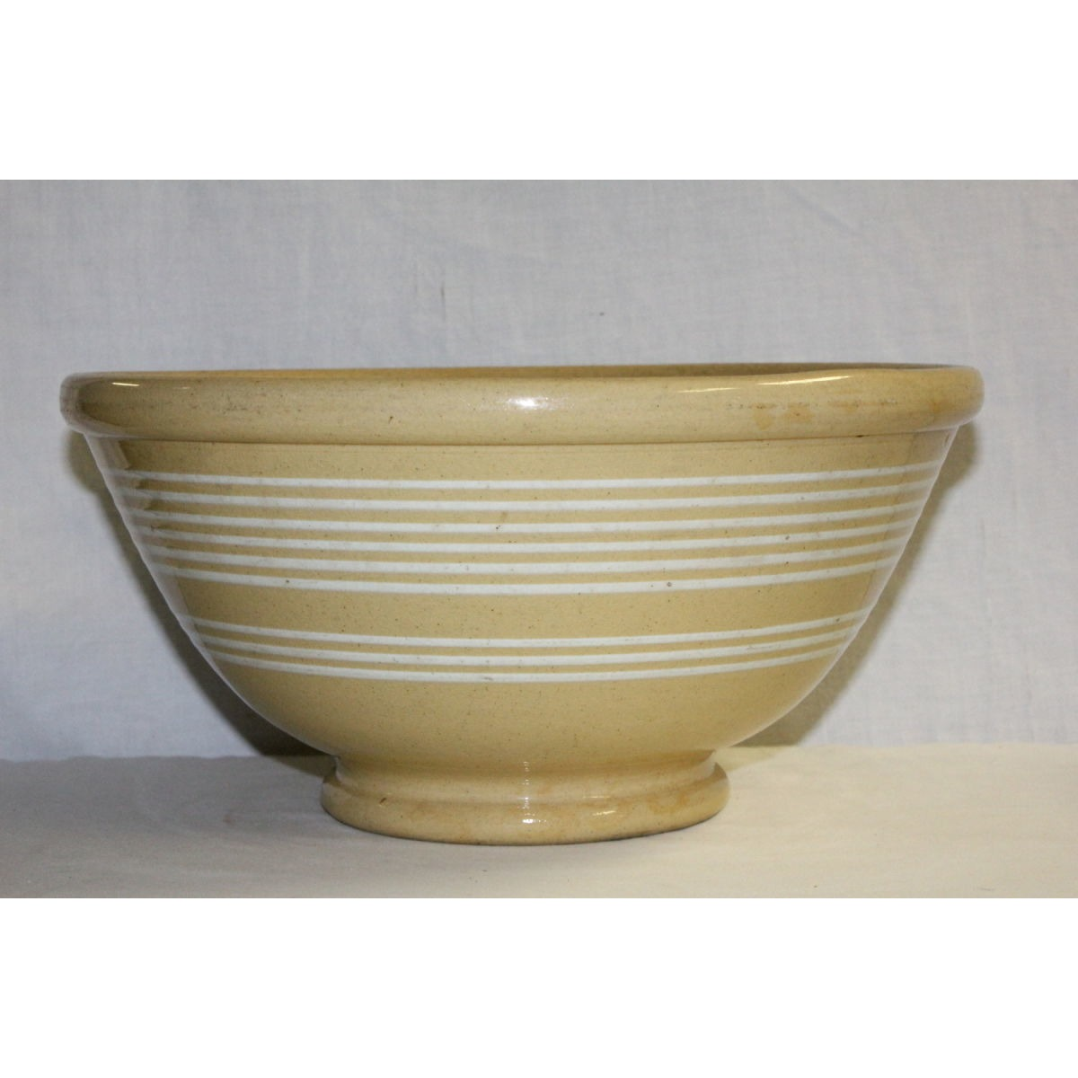 Fabulous Large Yellowware Nine White Banded Bowl