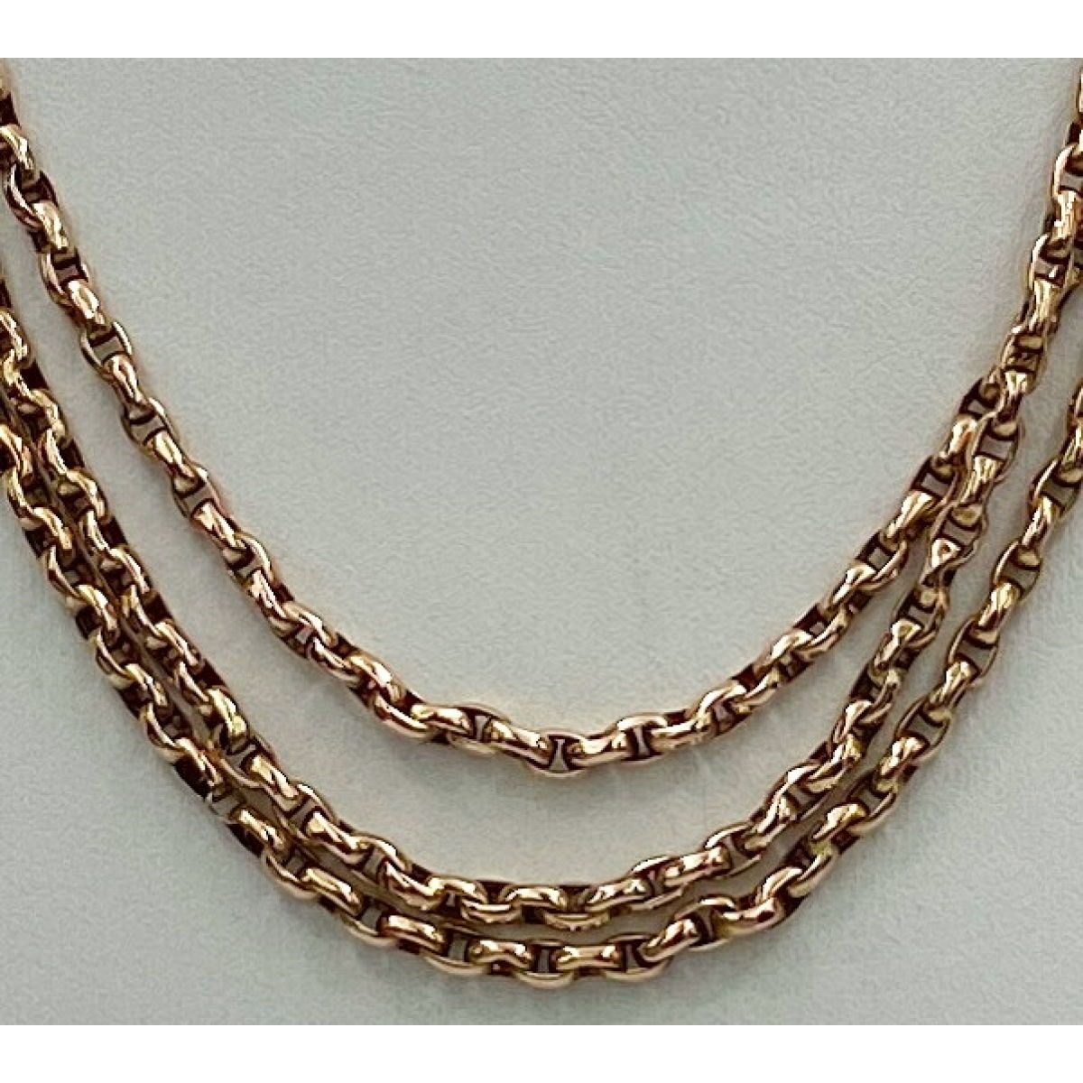 "48"" Wheat Link Antique English Gold Chain - Serviceable Length"