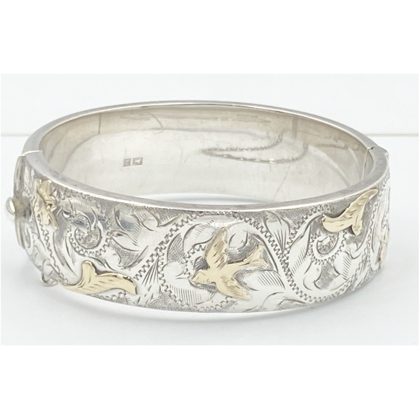 Special Victorian English Silver Bangle with Gold Birds - Slightly Larger