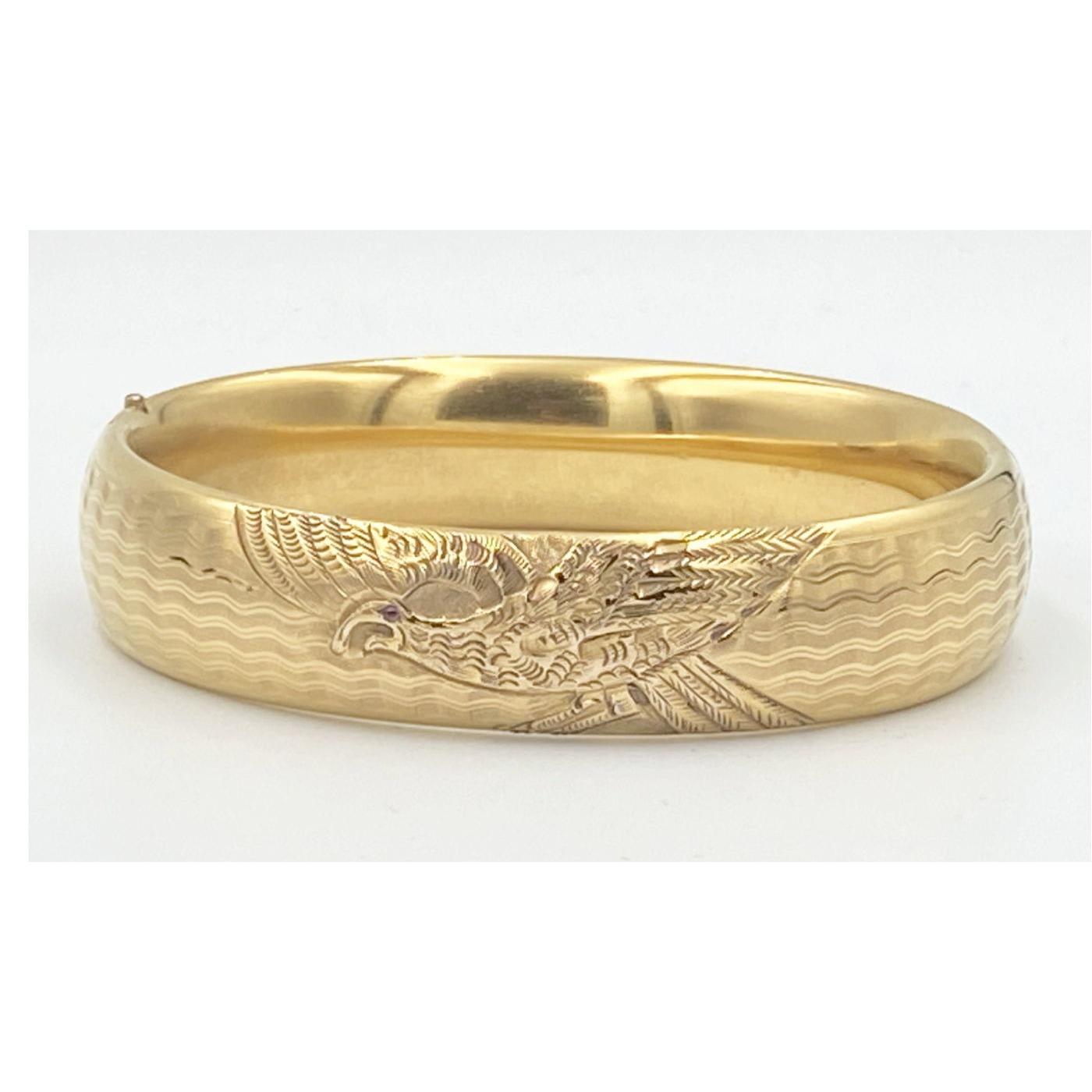 Scarce EAGLE Engraved All-Around Engagement Bangle