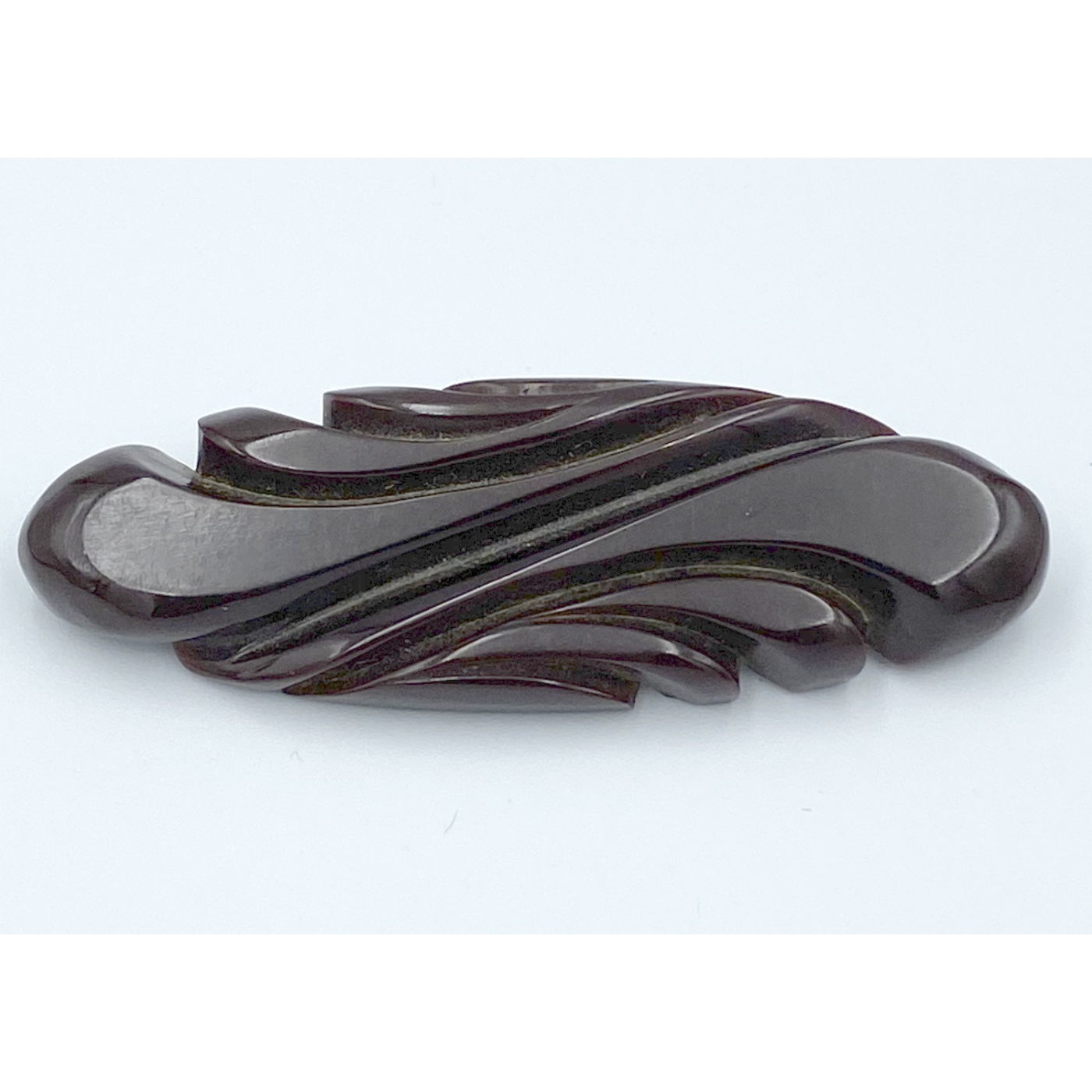 Deep Chocolate Brown Swirl Carved Bakelite Pin