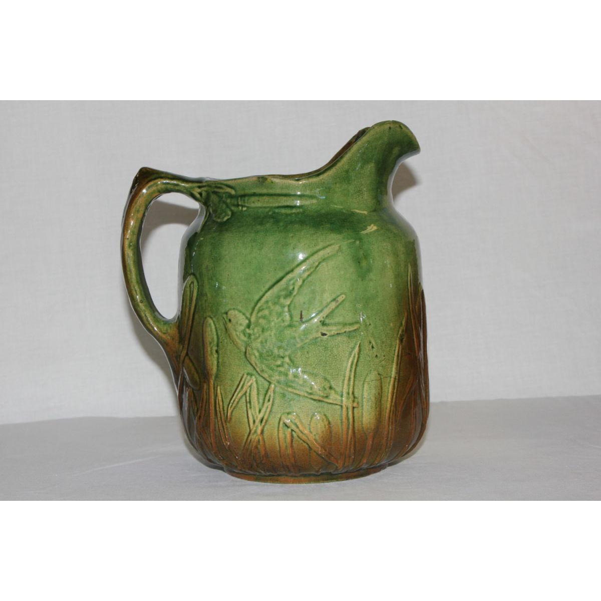 A Favorite! Green-Glazed Yellowware Swallow Pitcher