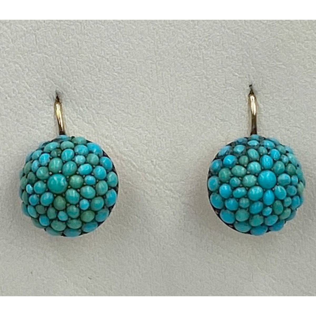 Outstanding Brilliant Persian Turquoise Dome Drop Antique English Gold Earrings