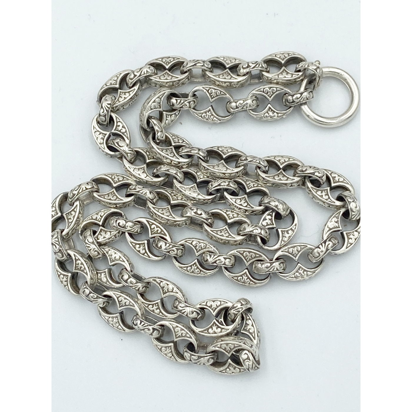 """19"""" Awesome Medium Length Highly Detailed Oval Anchor Link Antique English Silver Chain"""
