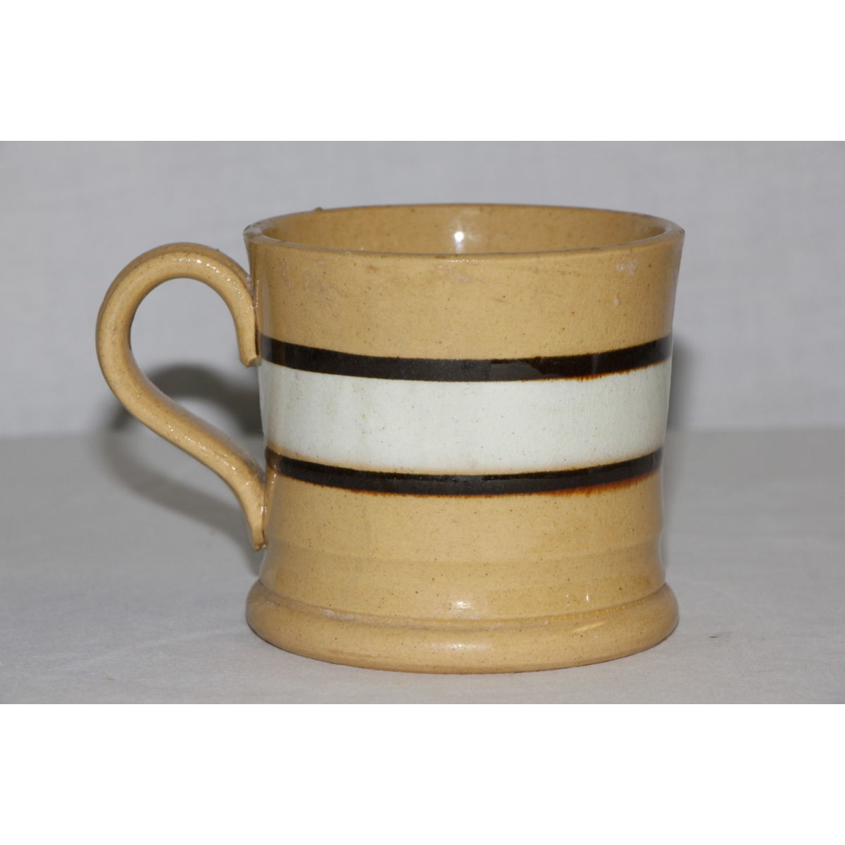 Dark Chocolate Brown and White Banded Yellowware Mug