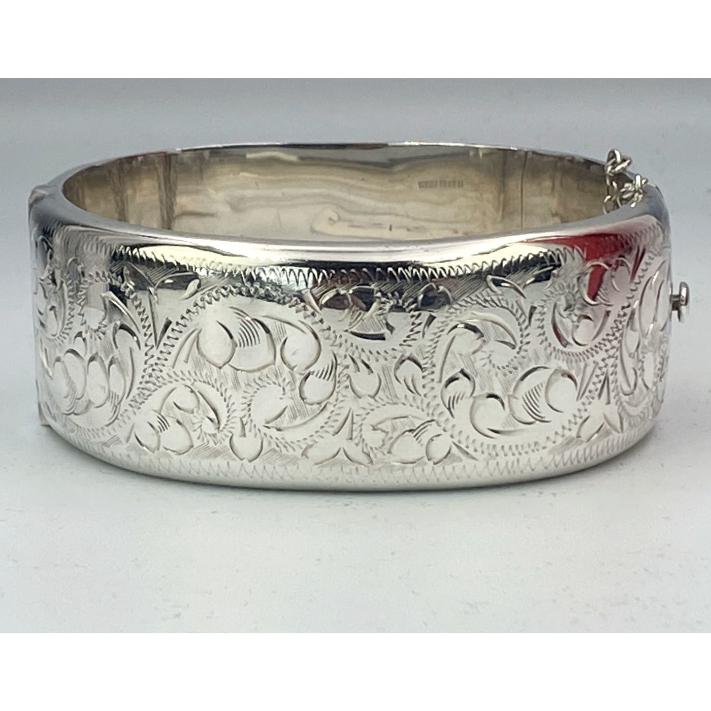 Wide Sweetly Engraved Swirls Antique Silver English Bangle - Generous
