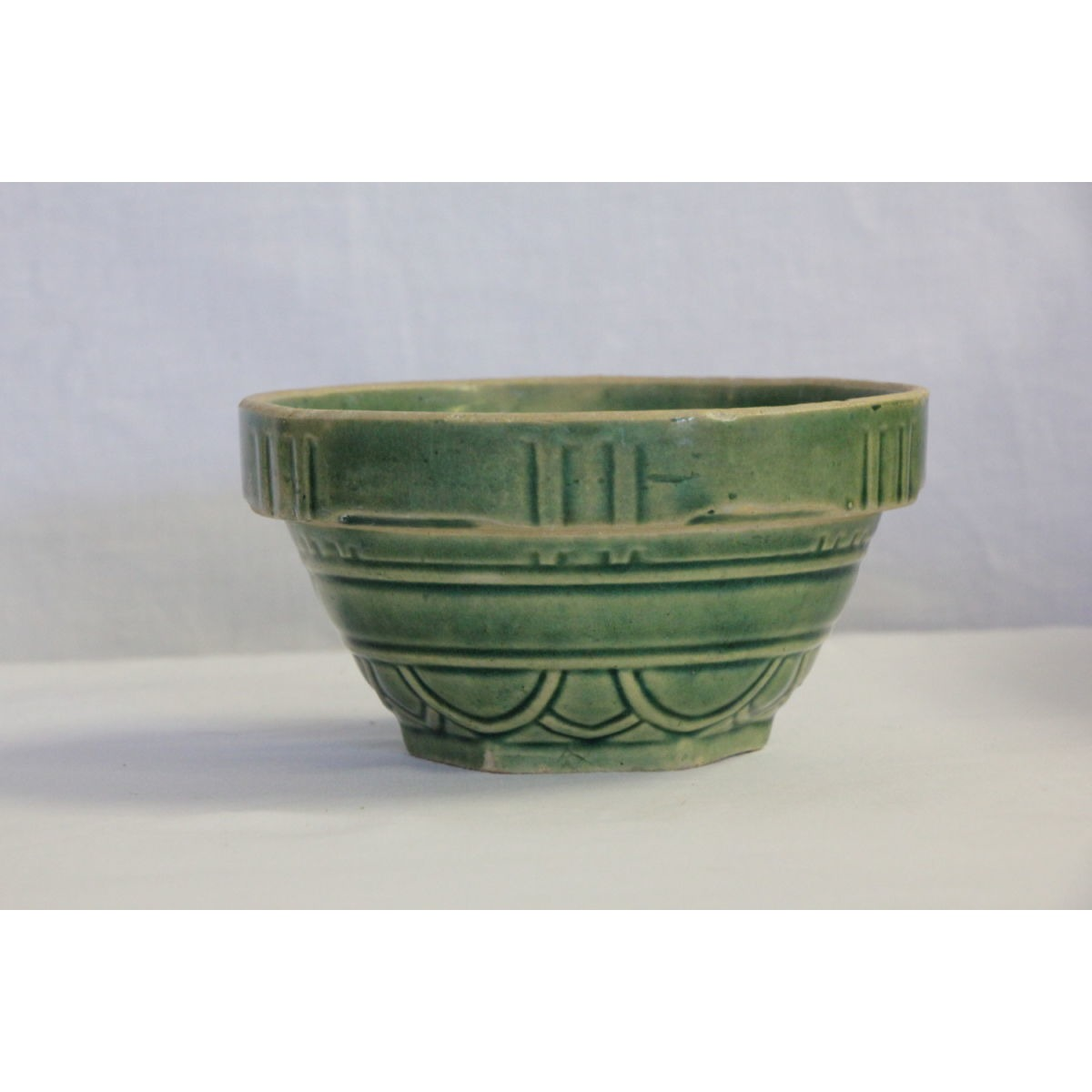 "Unusual Pattern 5"" Green Glazed Yellow Ware Arcs & Lines Bowl"