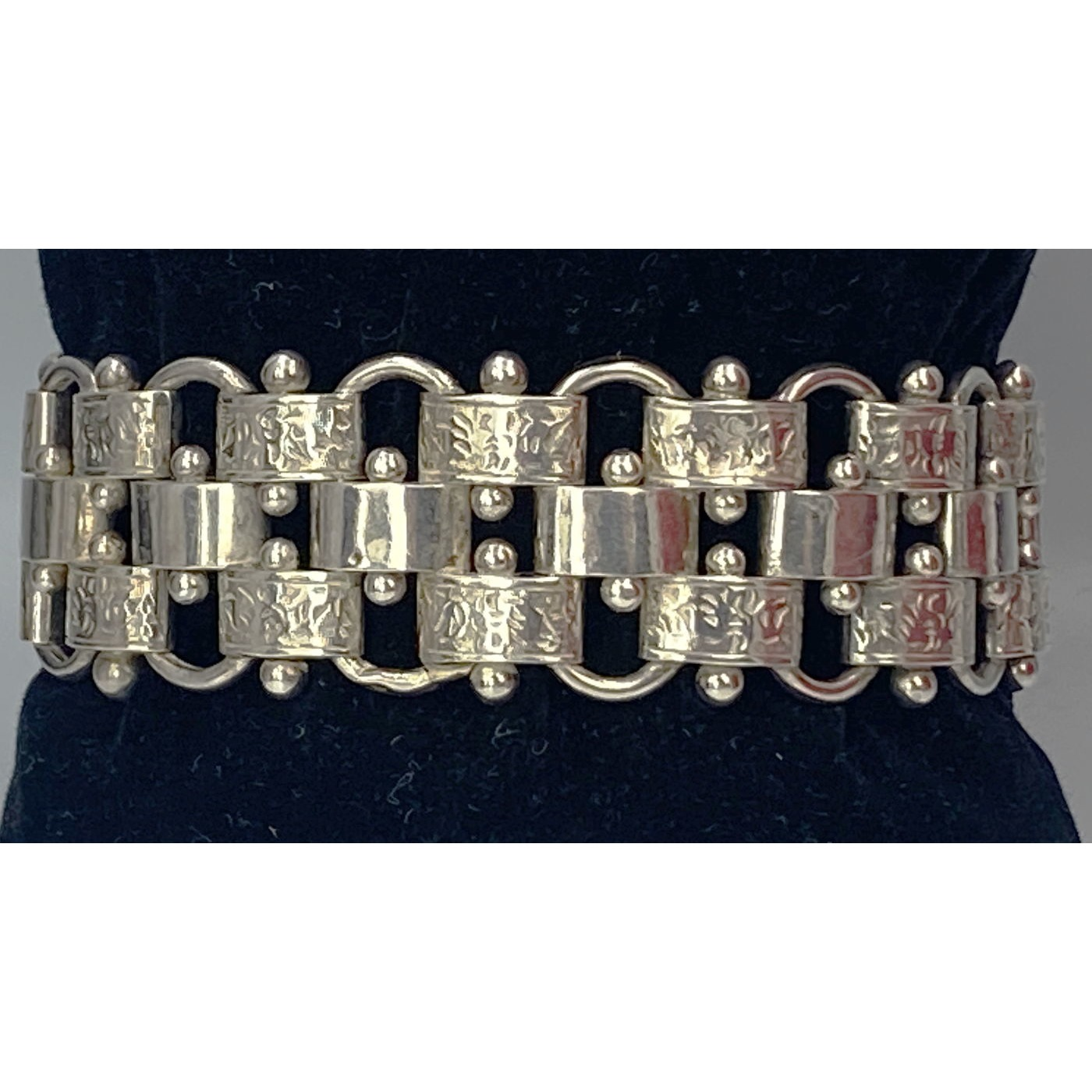 Incredible Ball and Embossed Link Basketweave Antique English Silver Bracelet