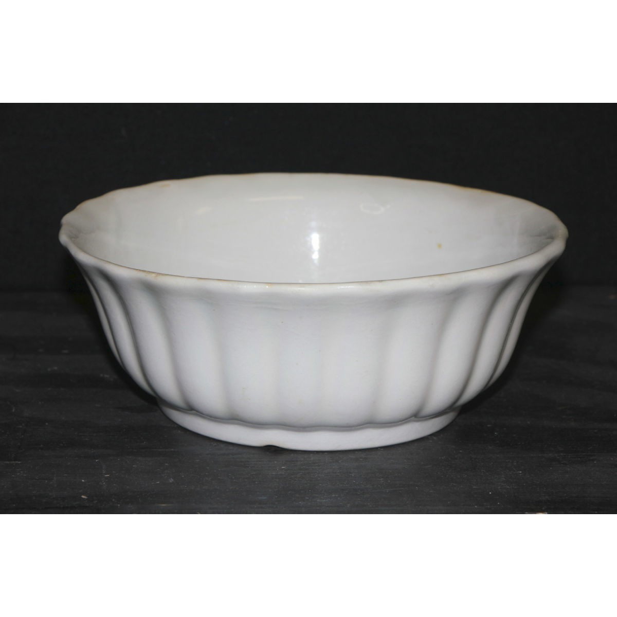 "Small Fluted Ironstone Serving Bowl - 7.5"" diameter"