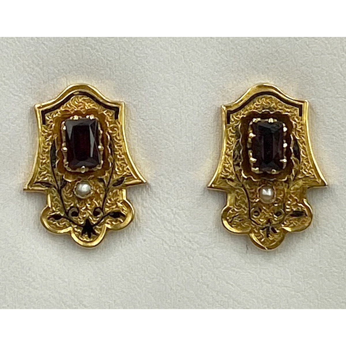 Rectangular Garnets, Seed Pearls, and Fabulous Black Enameling 14kt Gold Antique English Earrings
