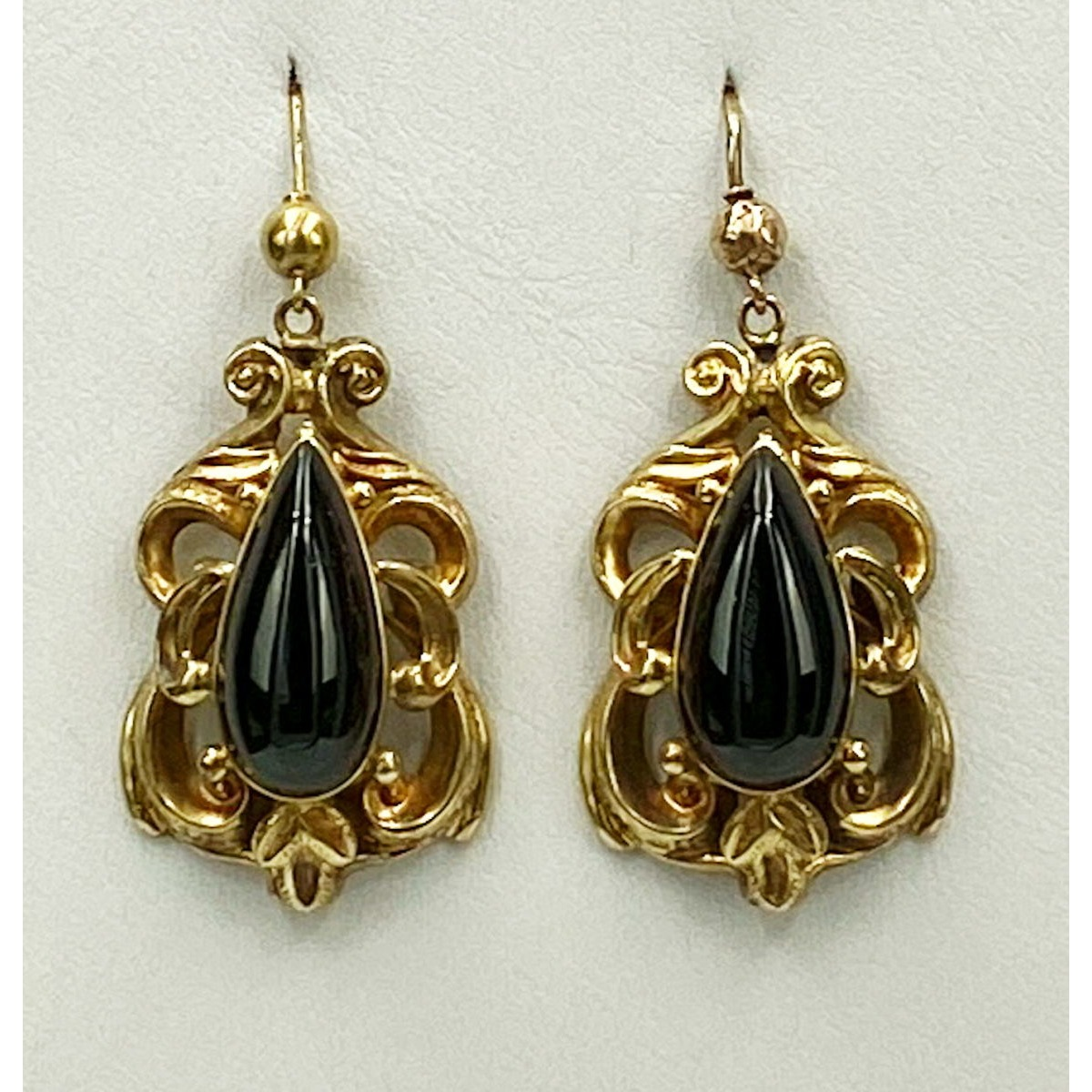 Bold 15kt Gold Antique English Earrings with Large Teardrop Garnets