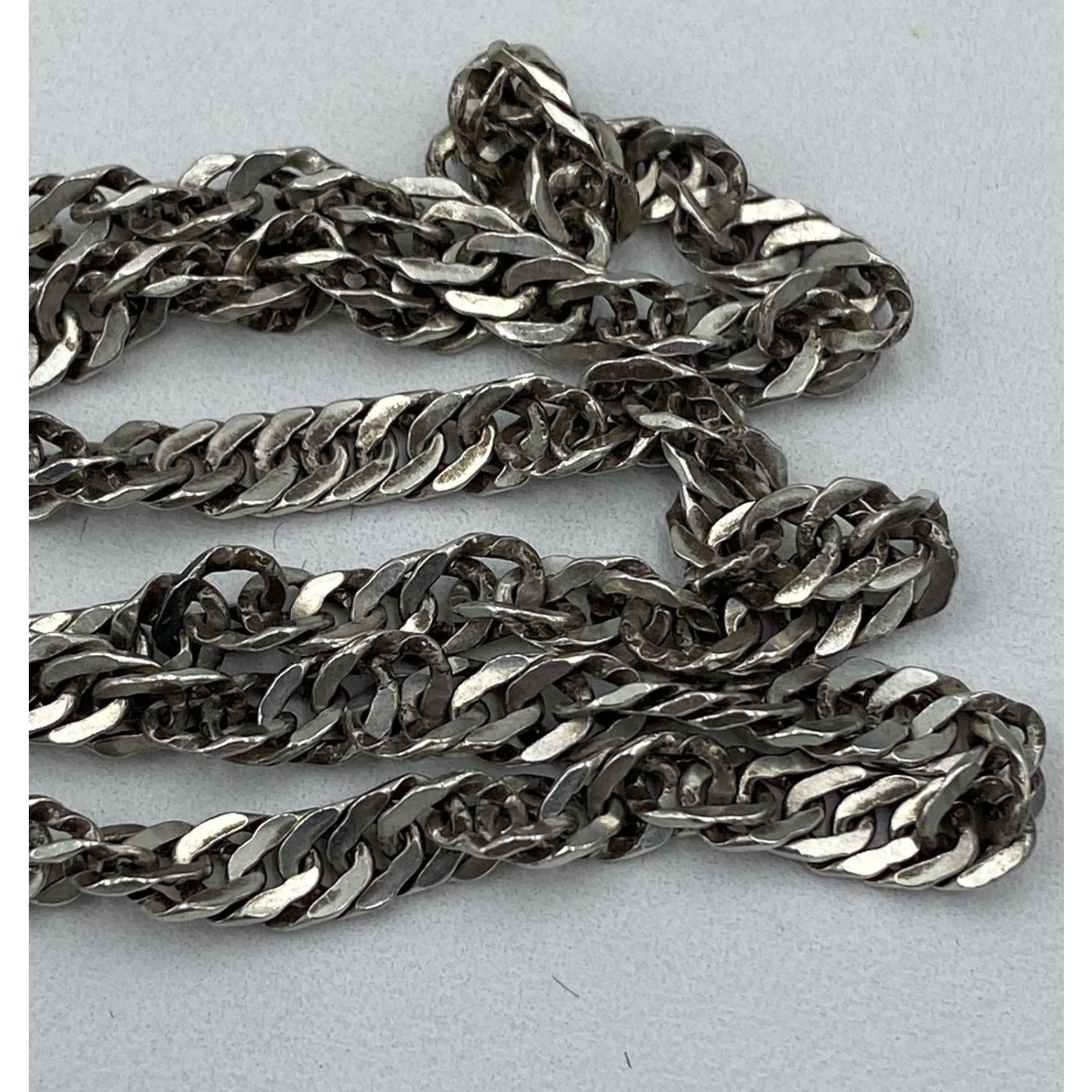 "23"" Early Sterling Silver Twist Rope Interesting Chain"
