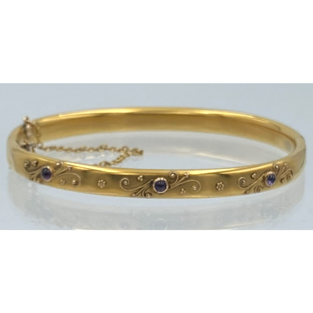 Exceptional Antique Gold Bangle with Amethysts and Applied Gold Wire Decoration