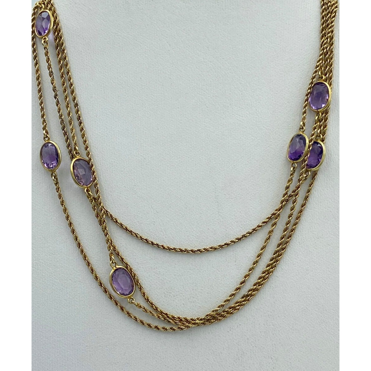 "Beautiful 48"" Antique English Gold Long Guard Chain with Large Bezel Set Amethysts"